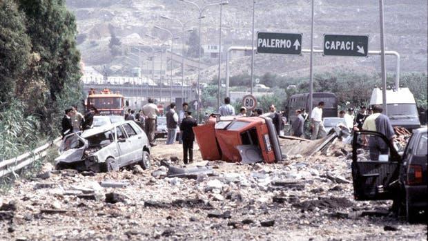 Escenario del asesinato del juez Falcone en Capaci, Sicilia