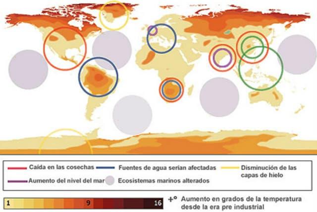 Mapa mundial de la Oficina de Meteorología de Reino Unido que muestra el impacto del aumento de 4 grados centígrados en distintas regiones