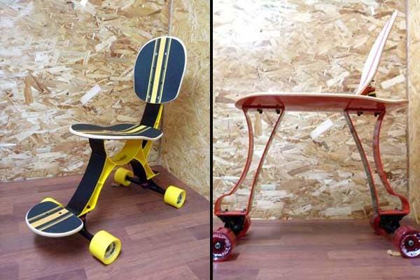 Si estás cansado de tanto trabajar y querés salir a dar una vuelta, ¡podés hacerlo en esta silla skate! El único problema, se consiguen solo en Japón. Foto: www.craziestgadget.com