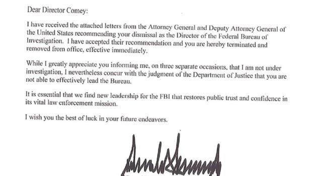 Qué dice la carta con la que Donald Trump despidió al director del FBI