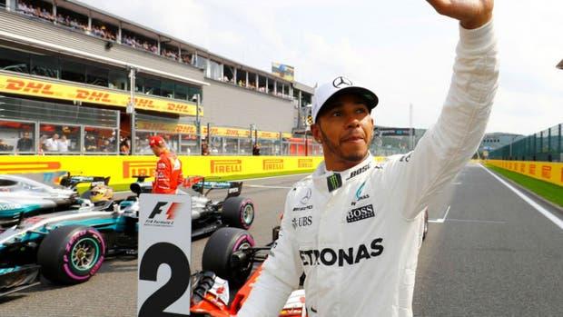 La alegría de Hamilton tras su pole en Spa