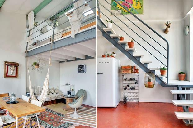 Una propuesta relajada. Se aprovecharon los escalones de la escalera para sumar verde al interior del espacio.  /Planete-deco.fr