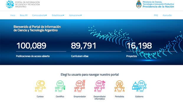 Una vista del portal de datos abiertos del Ministerio de Ciencia y Tecnología