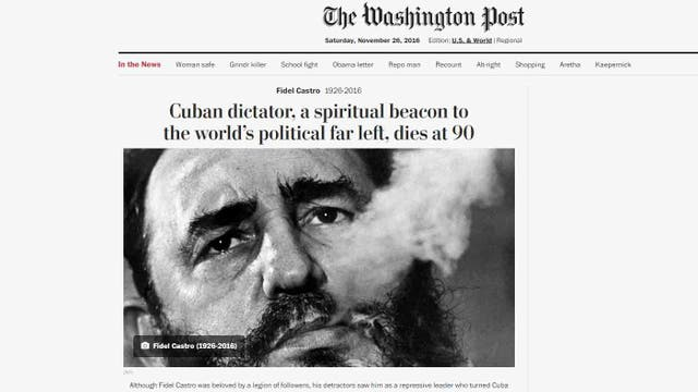 La muerte de Fidel Castro en The Washington Post