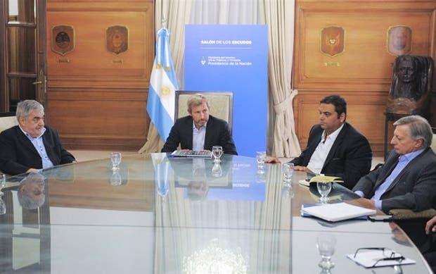 Das Neves, Frigerio, Triacca y Aranguren, en una reunión anterior en la Casa Rosada