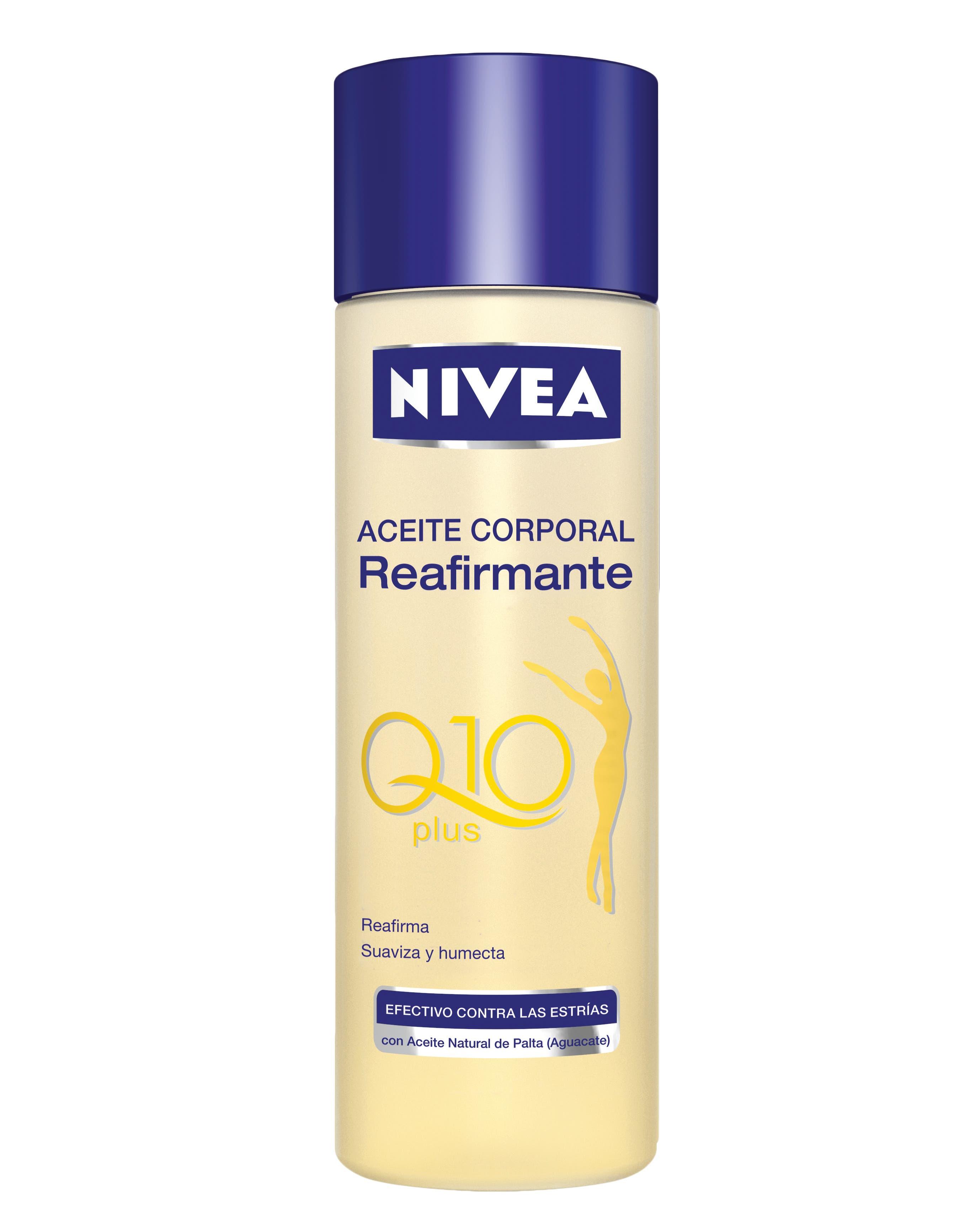 Aceite corporal con aceite de palta, reduce las estrías ($49,69 Nivea).