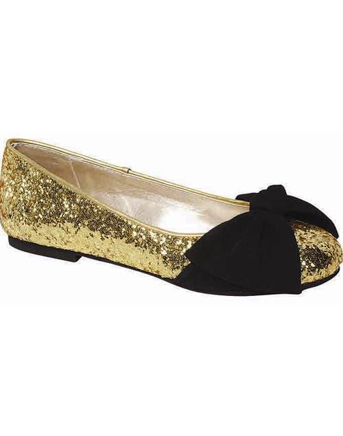 Chatita dorada con glitter y moño (Lucerna, $449).