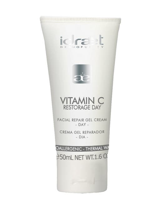 Vitamina C Crema Gel Reparador dia.Devuelveluminosidad, incentiva la produccion de colageno ($272, idraet).