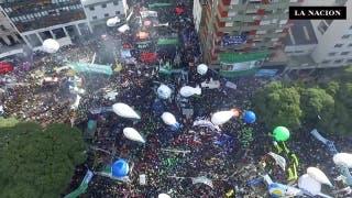 La marcha de los sindicatos desde un drone