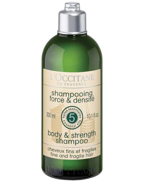 Shampoo Fortalecedor. Ayuda a fortalecer y limita la caída del cabello fino y frágil ($593, L'occitane).