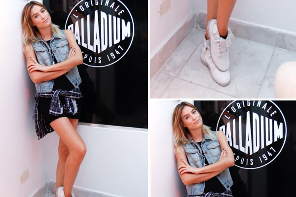 Cintia Garrido en el Evento de Palladium Boots. ¿Su outfit? Chaleco de jean, vestido negro y botitas blancas. ¿Qué te parece la camisa atada a la cintura?. Foto: Gentileza Grimoldi