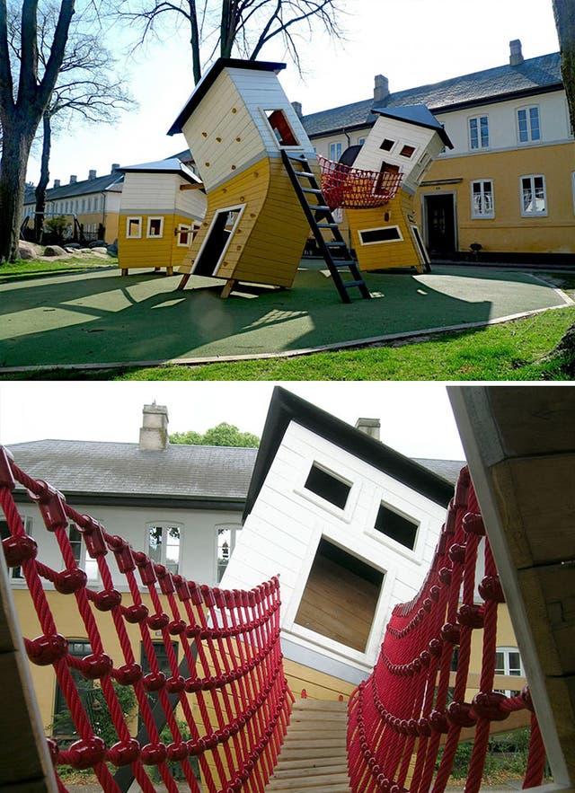 En Brumleby estas casas torcidas son una atracción para los más pequeños