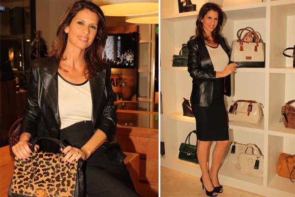 Analía Maiorana optó por un look bien formal en blanco y negro para ir a visitar el local de Prüne. Foto: Urban PR