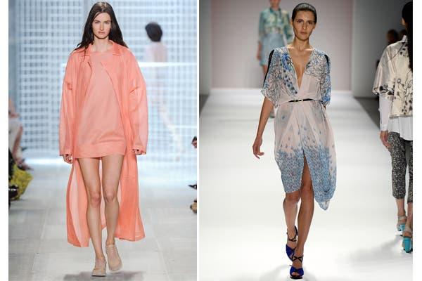 Vestidos cortos de Lacoste y Mariana Dappiano, con mucho vuelo. Foto: Gentileza Lacoste e image.net