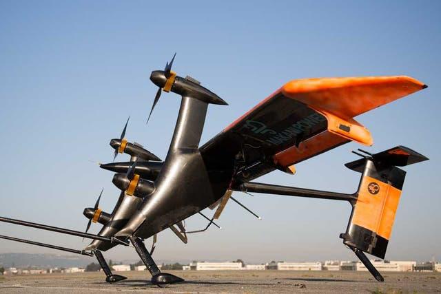 Una vista de las turbinas aerotrasportadas que generan energía eólica a gran altura, creadas por Makani, una empresa adquirida por Google X