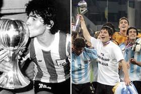 Maradona y Messi, dos campeones Sub 20 con las distintas selecciones argentinas
