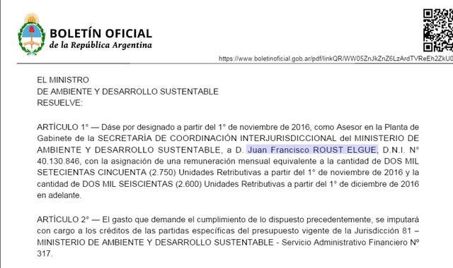 La designación fue publicada el pasado 3 de enero en el Boletín Oficial