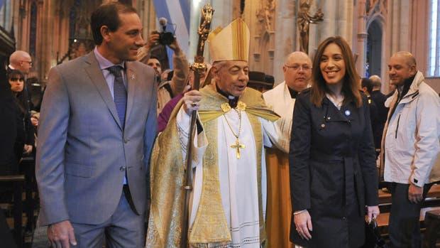 Garro, Aguer y Vidal, durante el tedeum en La Plata