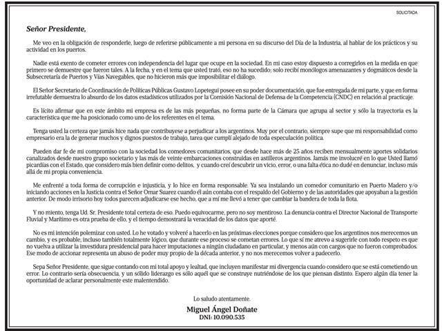 La solicitada publicada en LA NACION
