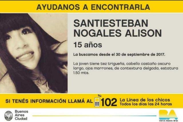Alsion, de 15 años, fue vista por última vez el 30 de septiembre