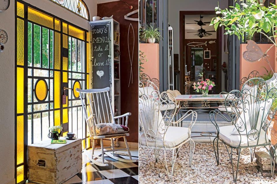 Las puertas de hierro (Herrería Walcar) imitan las originales de la casa, y se usó vidrio amarillo para tener una luz distinta.  Foto:Living /Javier Picerno