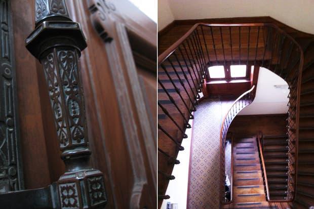 Detalle de la escalera de circulación de servicio; su construcción fue un desafío estructural para la época.