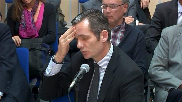 Urdangarin, ayer, al declarar como acusado por el caso Nóos, en Palma de Mallorca
