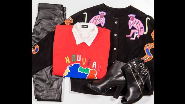 Rocker por AyNotDead - Campera de gamuza bordada ($3000), buzo de algodón bordado ($850), pantalón engomado de símil cuero ($700), botitas peep toes con hebillas ($700) y camisa a rayas ($900).