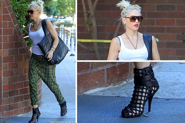 Un look bien jugado el de Gwen Stefani, con pantalones amplios, musculosa básica y zapatos abiertos tipo red. Foto: Thetrenddiaries.com