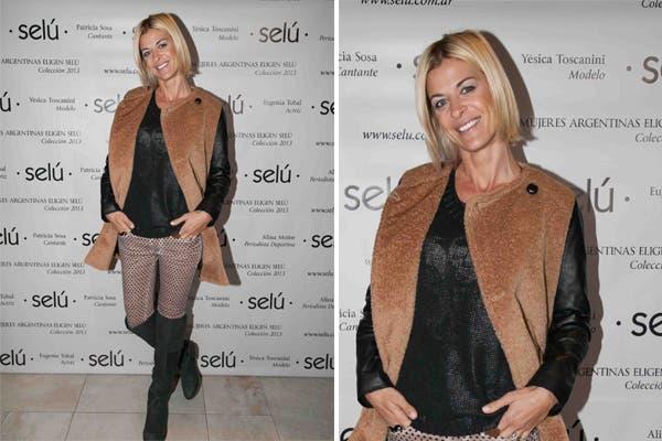 Eugenia Tobal estuvo en el evento de Selú con un tapado de mangas de cuero, un chupín engomado y botas de caña bien alta. Siempre con las últimas tendencias. Foto: Aló