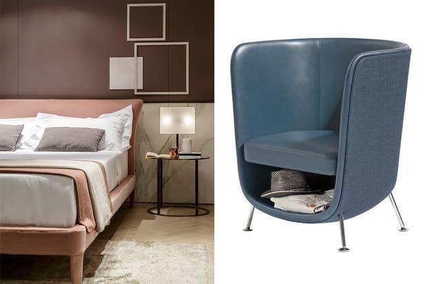 En el local de B&B, caímos rendidos ante esta cama, suave en todos los sentidos. bebitalia.com. En el stand de Bla° Station nos encontramos con la silla'Pocket': comodidad y guardado inteligente en cuero azul grisáceo.