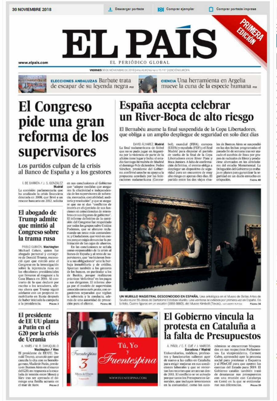 The reaction of Spanish newspapers to confirm the