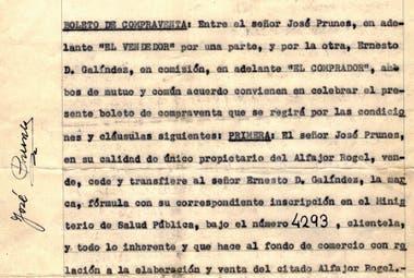 Fragmento del contrato de compra-venta celebrado entre José Prunes y Ernesto Galíndez en 1966.