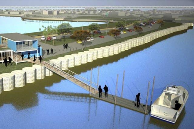 Render de la futura estación fluvial de Quilmes