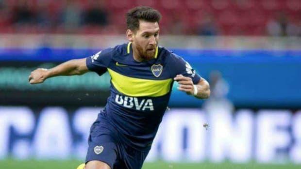Una imagen retocada de Lionel Messi con la camiseta de Boca