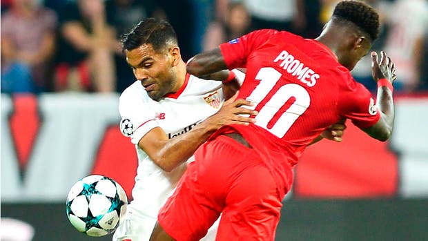 Gabriel Mercado (Sevilla), en el último partido ante Spartak de Moscú