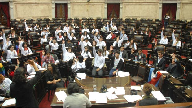 Los representantes juveniles votando la ley contra el bullying en el Congreso Nacional