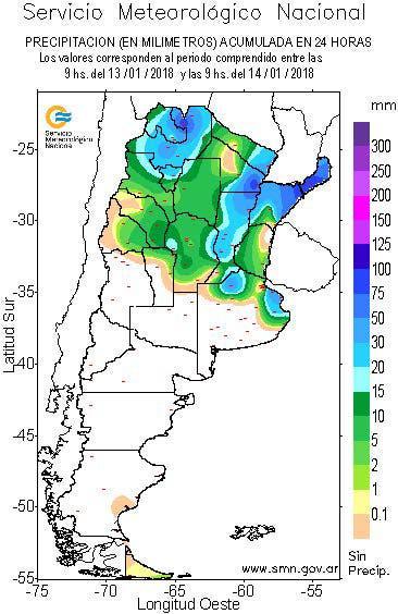 Precipitaciones acumuladas entre las 9 del sábado y las 9 del domingo