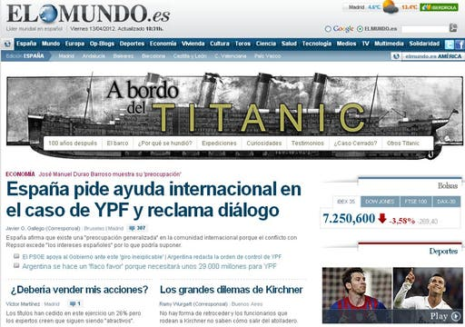 El Mundo intensificó durante toda la jornada el tema en su portada digital.