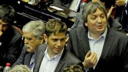 Julio De Vido, Axel Kicillof y Máximo Kirchner en el día de la jura de diputados, el 4 de diciembre de 2015