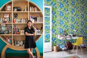 Izquierda: la biblioteca es el mueble preferido de Meme. Derecha: en el escritorio, una silla SDW ($1390, Desli) y un cesto de madera ($1290, Red Sur)