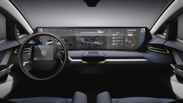El interior del Byton, equipado con una pantalla de 49 pulgadas que va de lado a lado, junto a otra de 10 pulgadas al volante