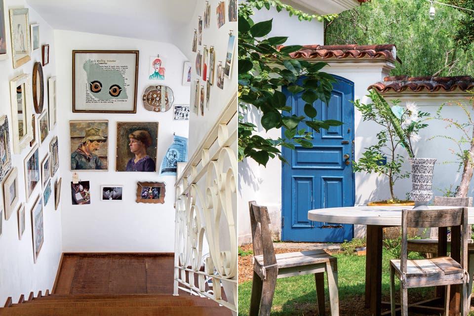 Acompañando el recorrido de la escalera, fotos familiares se mimetizan con retratos antiguos. La puerta del jardín, encantadora en azul; el mismo que delinea los marcos de las ventanas que dan a la galería o el de las antiguas mayólicas.  /André Luiz Cronemberger Nazareth