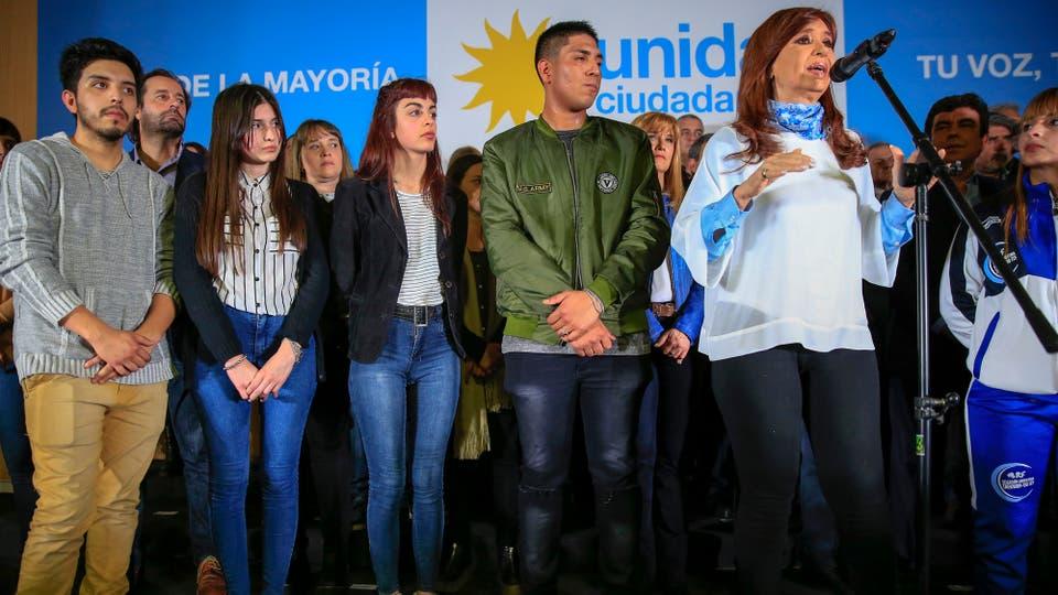 Cierre de campaña de Unidad Ciudadana en la sede de Gonzales Catan de la Universidad de la Matanza. Foto: LA NACION / Rodrigo Néspolo