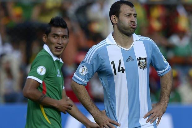 La Argentina sufrió la altura de La Paz. Di María fue el mejor e hizo un desgaste terrible..  Foto:AFP