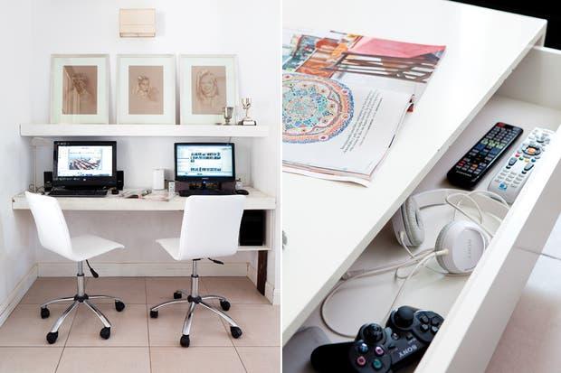 El escritorio contiguo con las computadoras, se pintó de blanco, a tono con el resto del mobiliario. Allí se ubicaron dos sillas basculantes tapizadas en cuerina (Carrefour)..