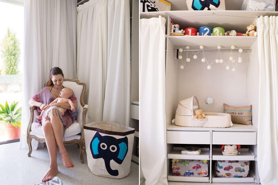 Las cortinas de liencillo evitaron un frente de placard de pared a pared y suman textura y movimiento. Guirnalda de luces ($250, Iluminadas Tres) y canastos estampados (Buy Buy Baby, Miami).  Foto:Living /Celeste Najt