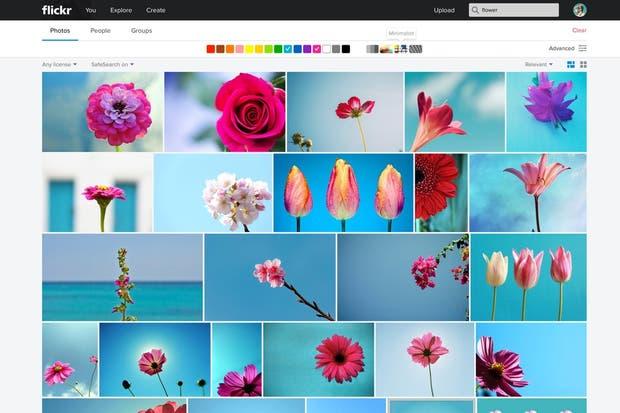 La búsqueda en Flickr ahora permite definir una paleta de colores, un estilo de imagen y buscar fotos por palabras clave aún si no fueron etiquetadas manualmente con ese término