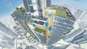Una vista de cómo funcionaría un ascensor de desplazamiento vertical y horizontal