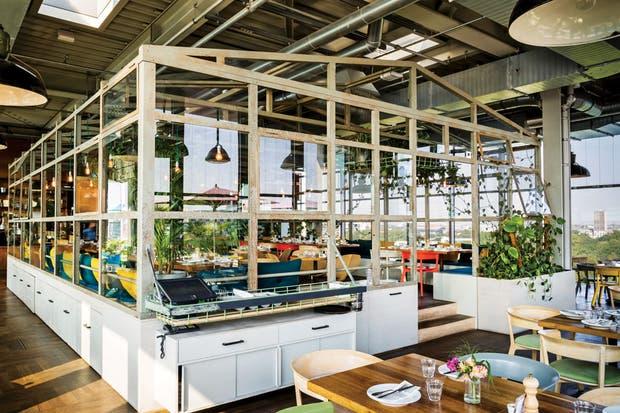 El piso elevado del invernadero –equipado con sillas de Aisslinger para la firma italiana Moroso– permite que desde el centro también se disfrute de la vista. Del placer culinario se ocupa Haya Molcho, la chef de origen israelí creadora de Neni.  Foto:Living /Daniel Karp